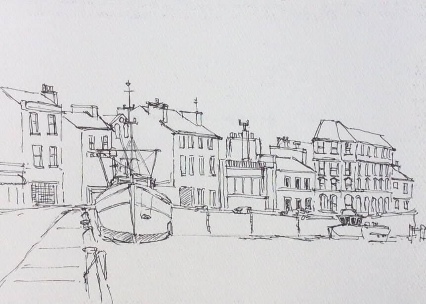 Ramsay Harbour Isle of man. Drawn on a cold morning, sitting on the quay.